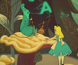 alice, caterpillar, and alice in wonderland image
