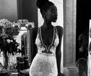 black woman, gorgeous, and wedding gown image