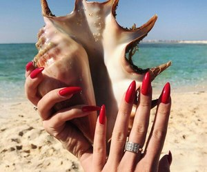 nails, beach, and girl image