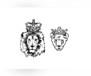 king, lion, and Queen image