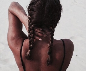 bikini, nails, and double braids image