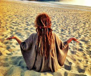 beach, dreads, and peace image