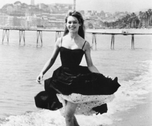 brigitte bardot, dress, and beach image