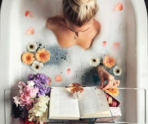 bath, girl, and read image
