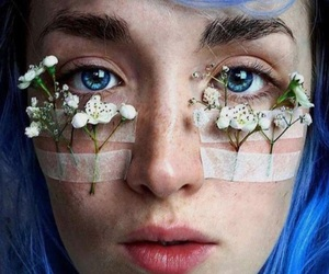 blue, flowers, and freckles image