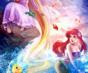 ariel, disney, and rapunzel image