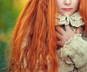 baby girl, beautiful, and long red hair image