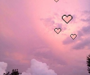 baby pink, fluffy, and hearts image