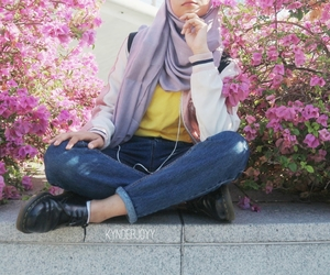 aesthetic, flowers, and hijab image