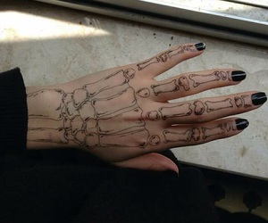drawing, hand, and skeleton image