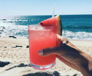 drink, beach, and watermelon image