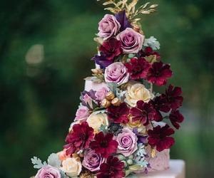 cake, flowers, and wedding cake image