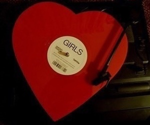 red, girl, and heart image