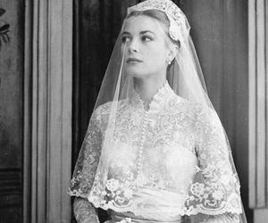 grace kelly, wedding, and wedding dress image