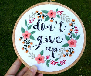don't give up, etsy, and flower wreath image