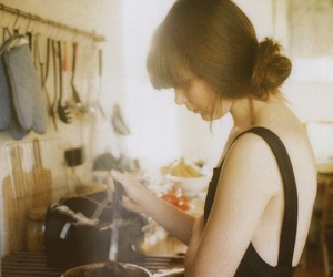 girl, kitchen, and cooking image