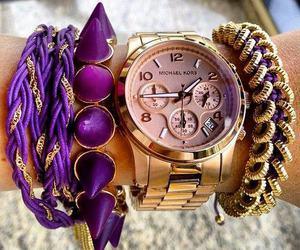 watch, purple, and bracelet image