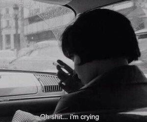 sad, black and white, and crying image