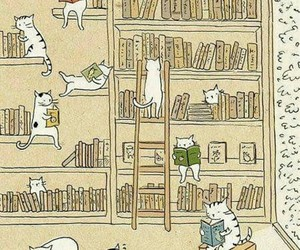 books, read, and cats image