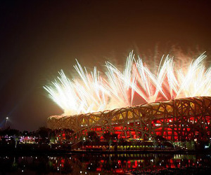 beijing, fireworks, and olympics image