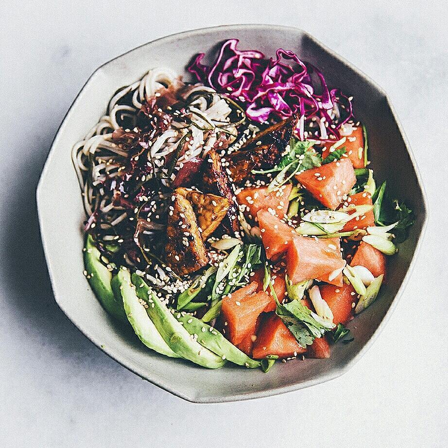 avocado, bean, and noodles image