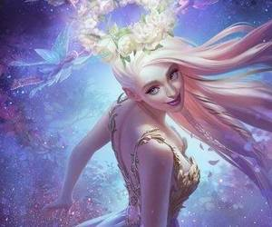 Fairies, flower wreath, and pink hair elf image