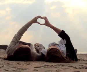 beach, love, and friend image