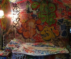 graffiti, room, and bed image