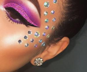 make up, Swarovski, and lashes. love. gloss. pink image