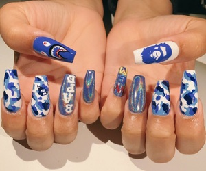 bape, nails, and camo image
