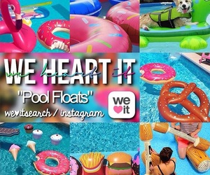 colors, pool, and floats image