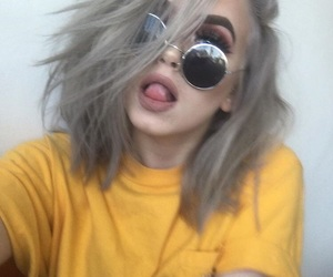 dyed hair, sunglasses, and yellow image