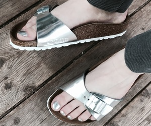 birkenstock, silver, and girl image