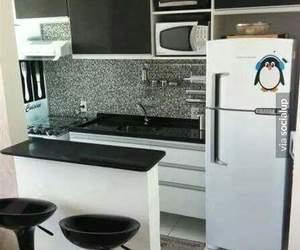 blanco y negro, interior, and cocina image