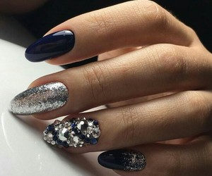 blue, manicure, and cute image