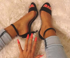 coral, nails, and pretty image