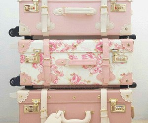 aesthetic, suitcase, and pink image
