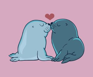 art, seals, and lovers image