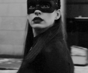 batman, Anne Hathaway, and black and white image