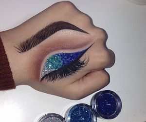 makeup, blue, and art image