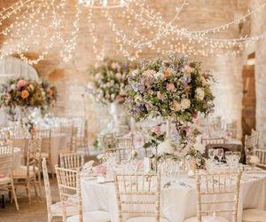 beautiful, fairy lights, and flowers image