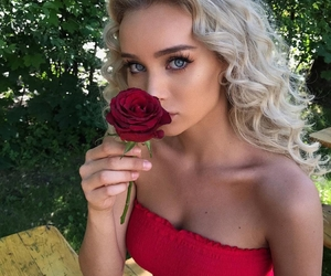 girl, red, and rose image