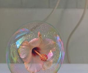 flowers, bubble, and pink image
