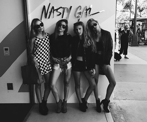 girl, black and white, and friends image
