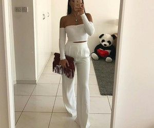 elegant woman, off shoulder, and all white image