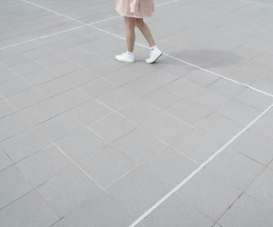 baby pink, ulzzang, and shoes white image