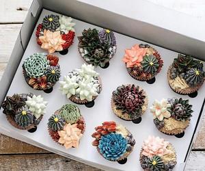 food, cupcake, and flowers image