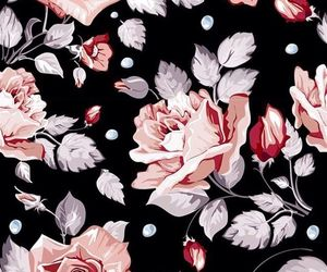 black, pink, and flowers image