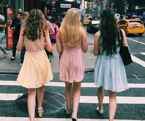 city street, dresses, and girls image