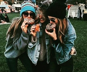 donut, girls, and jackets image